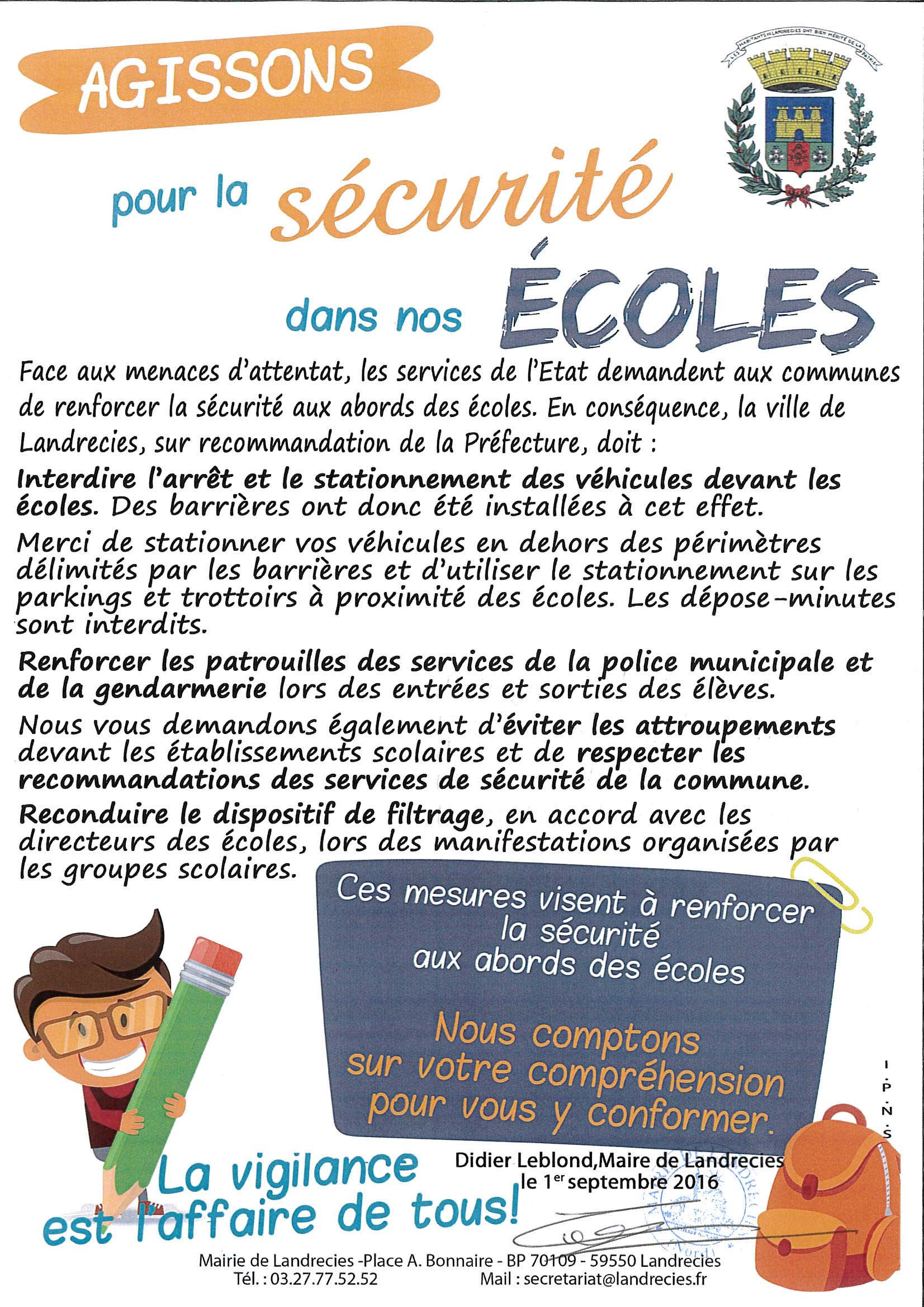 Securite des Ecoles sign